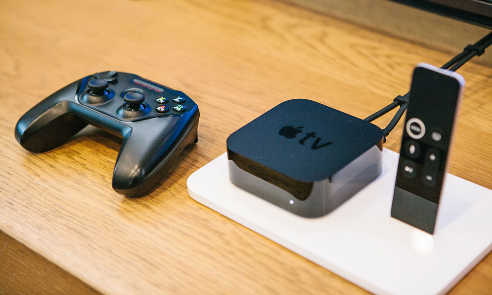 Apple TV with remote and game controller