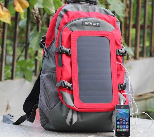 iPhone solar power backpack charger