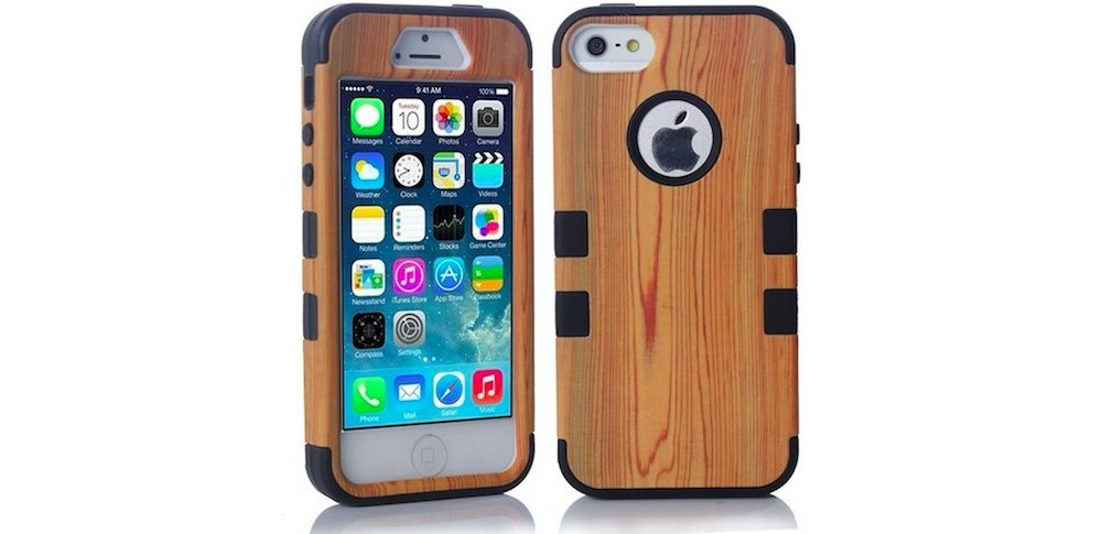 Hardwood With Silicone Hybrid Case for iPhone 5s - 87% OFF