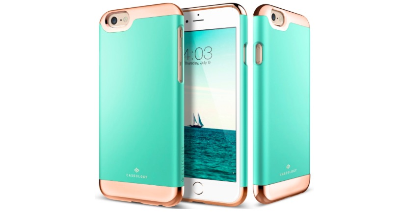 Turquoise Mint & Rose Gold Slider Case for Apple iPhone 6s Plus - 58%