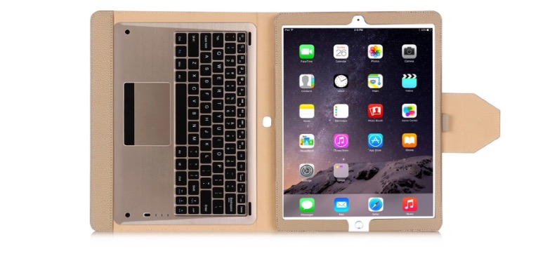 Gold Leather Keyboard Case for iPad Pro - $30.89 OFF