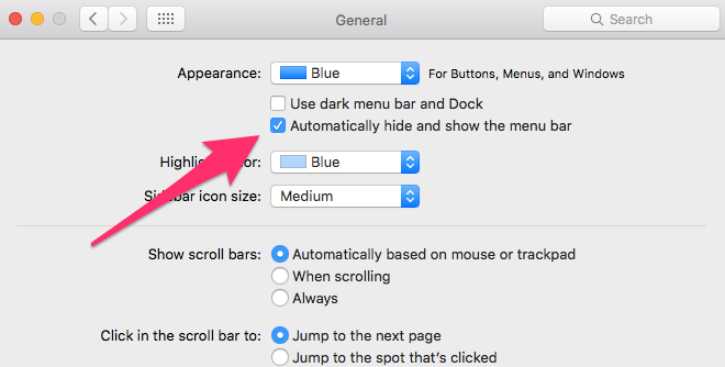how to show the menu bar in mac