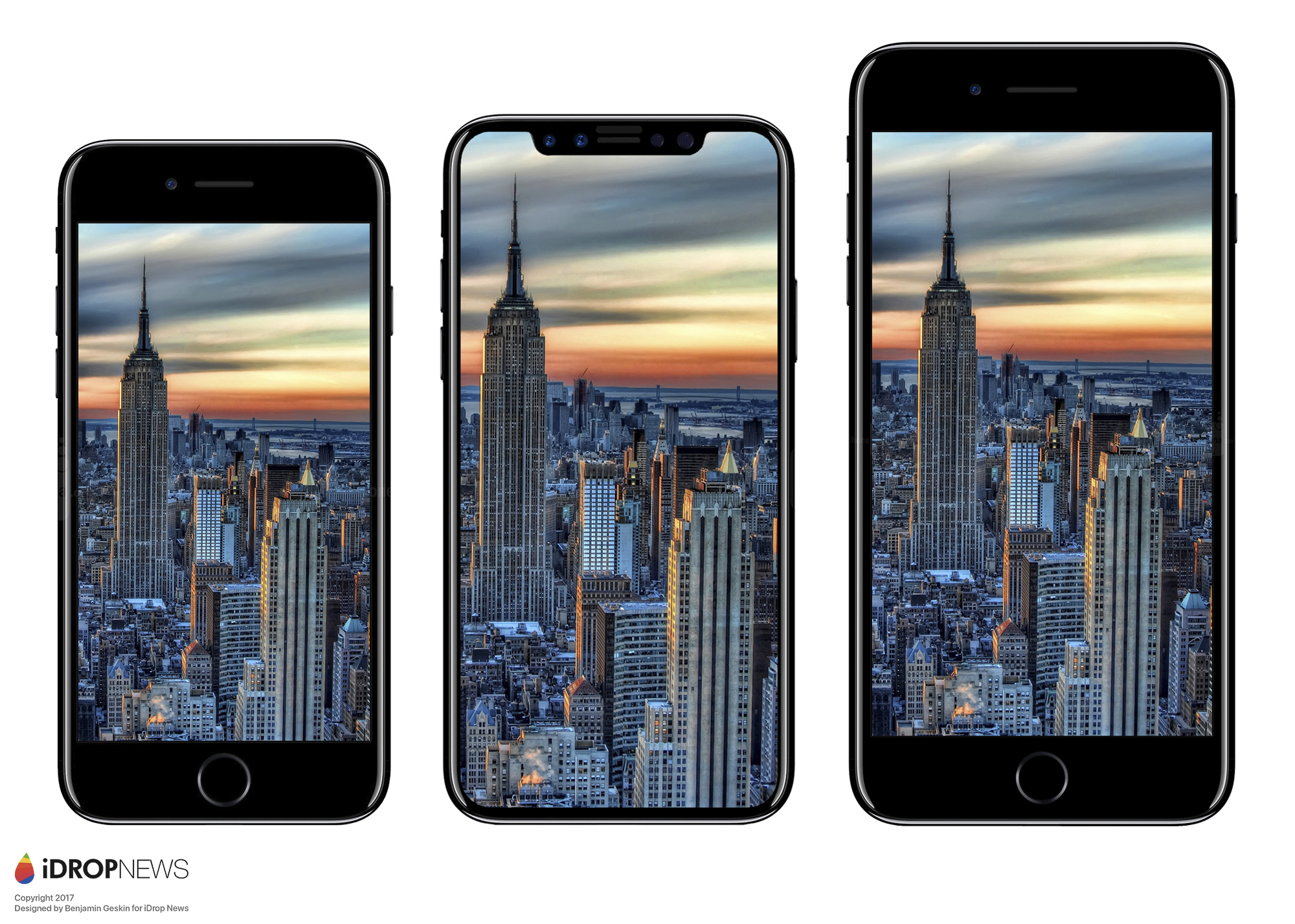 rendering of size differences between the iPhone 8, iPhone X and iPhone 8+
