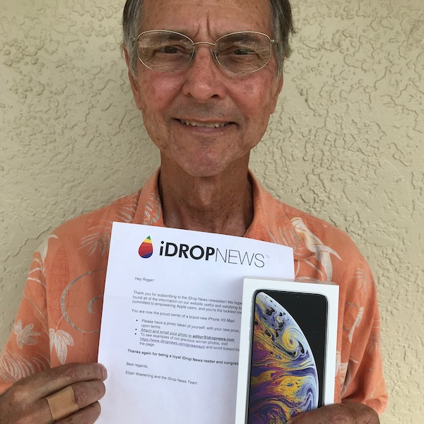 iDrop News iPhone Xs Max Giveaway Winner Roger P September 2019