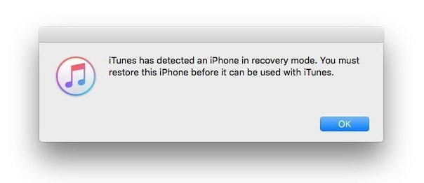 itunes recovery mode popup