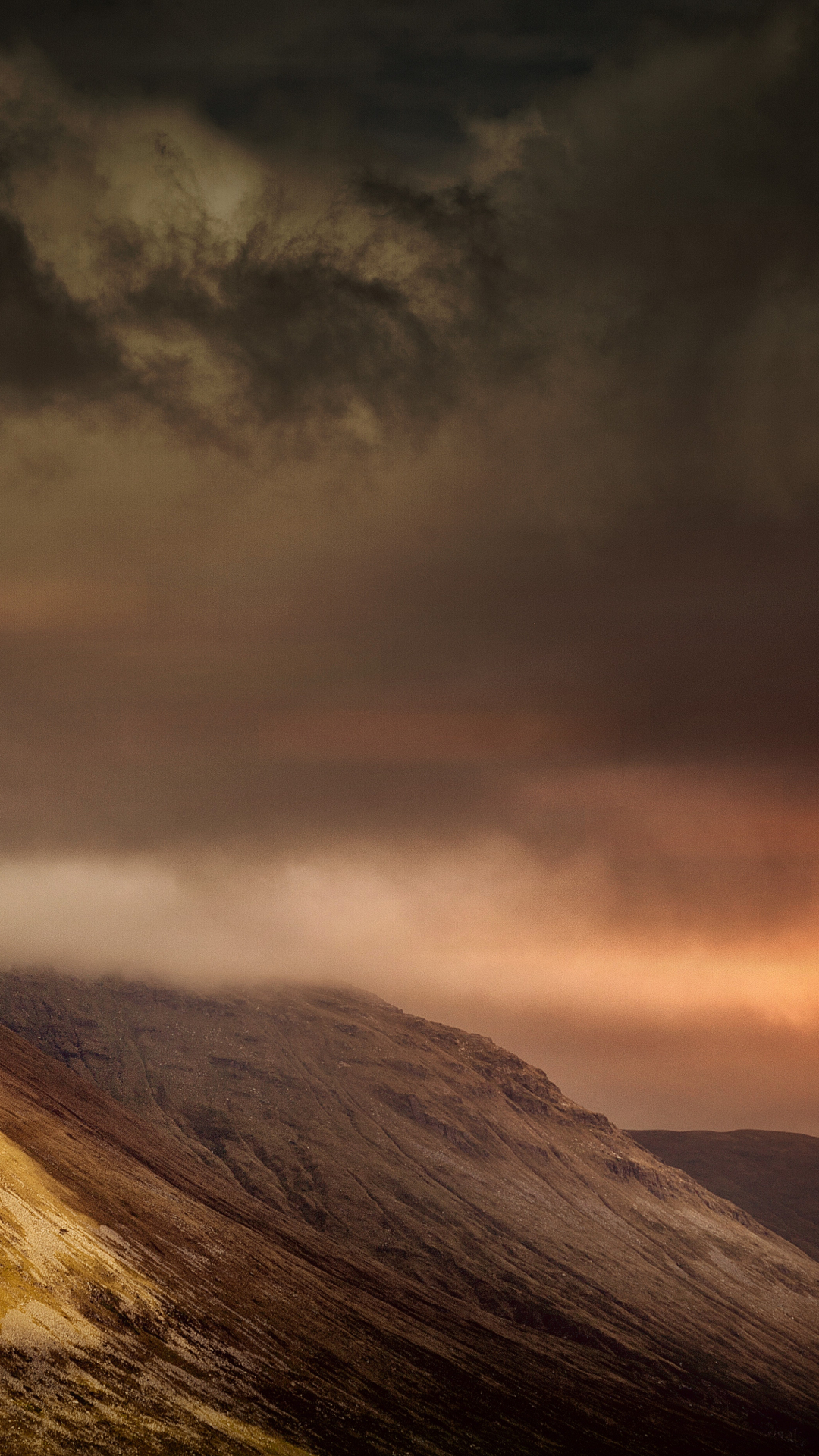 Mountain, Highland, Cloudy iPhone Wallpaper