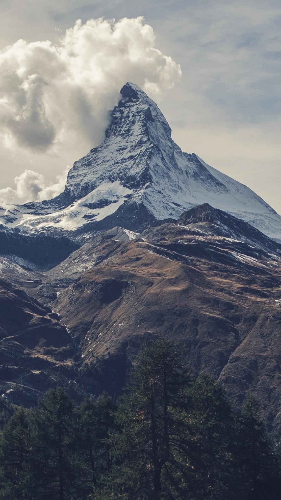 Matterhorn Under Clouds iPhone Wallpaper