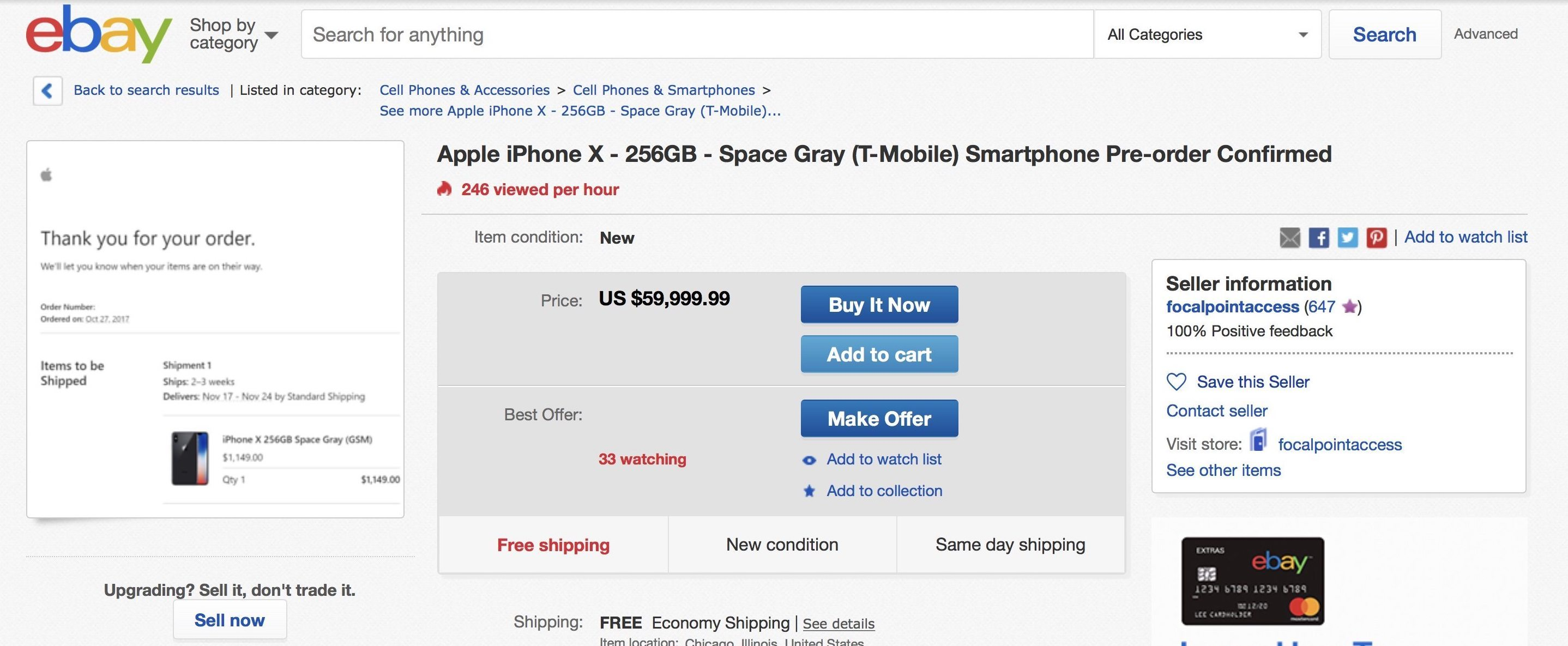 iPhone X Devices Demand up to $60,000 on eBay This Morning
