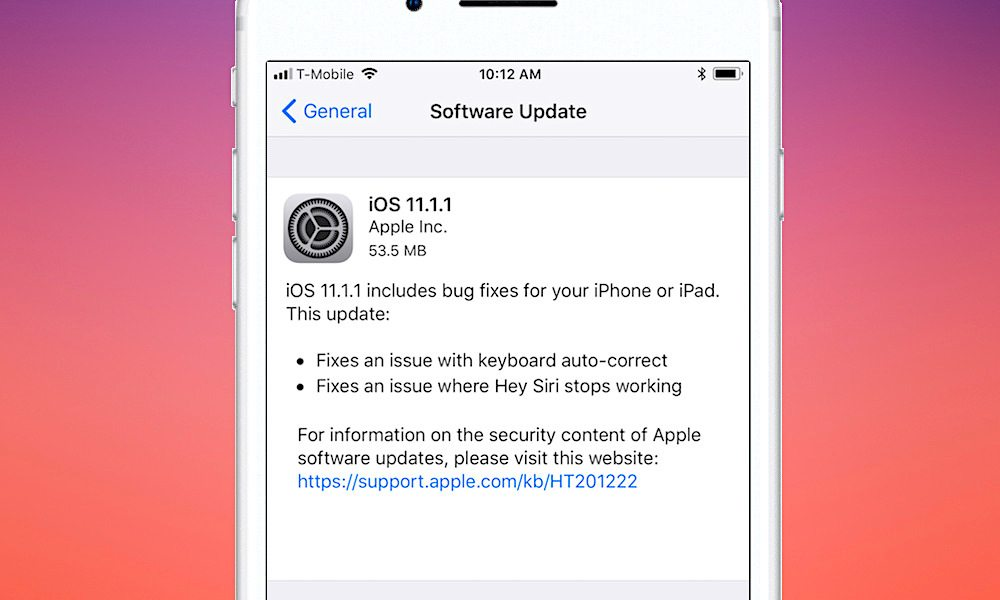 "Apple Releases iOS 11.1.1 Update with Autocorrect ""i"" Bug Fix"