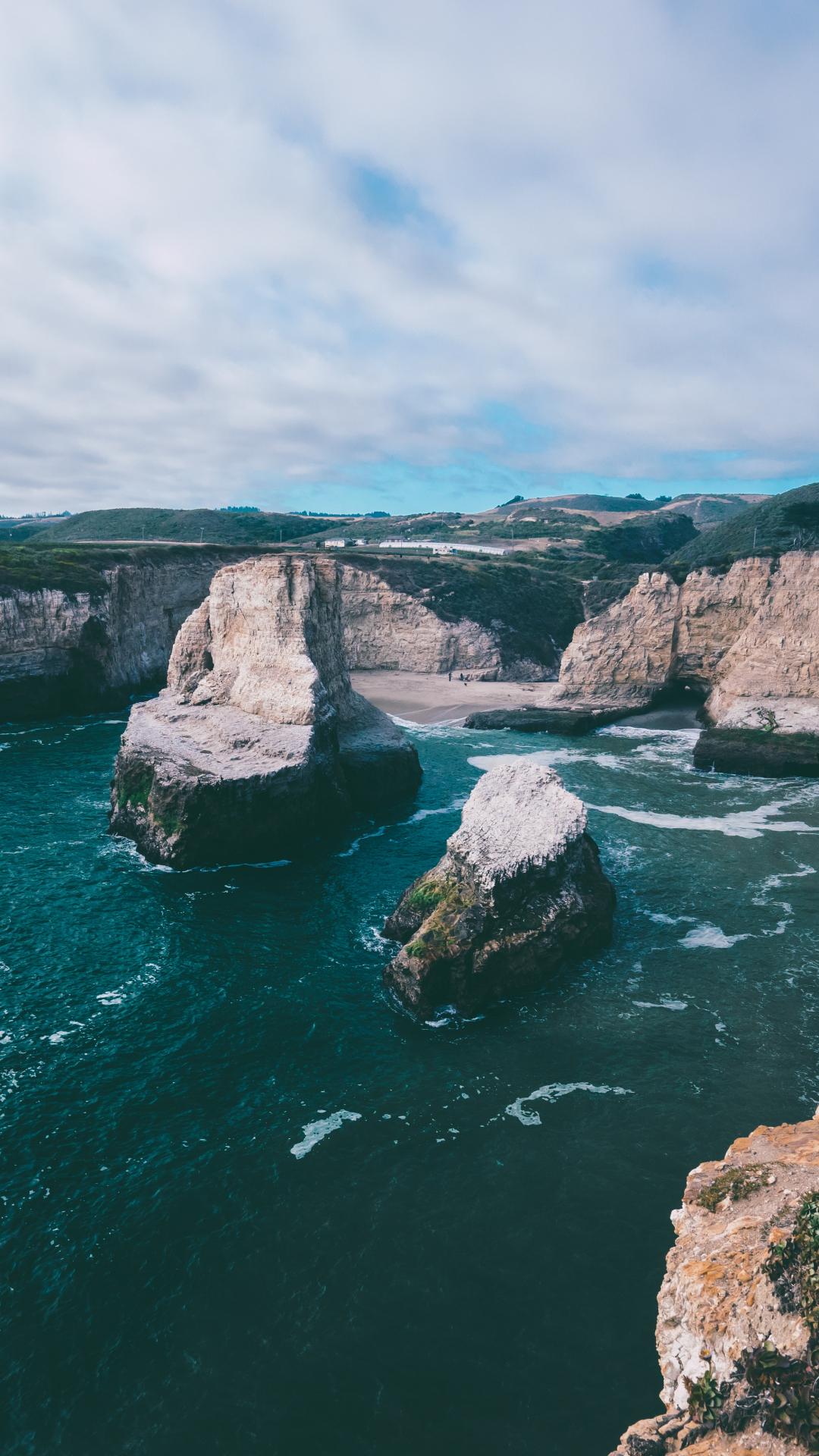 Beautiful Cliff Around Beach iPhone Wallpaper