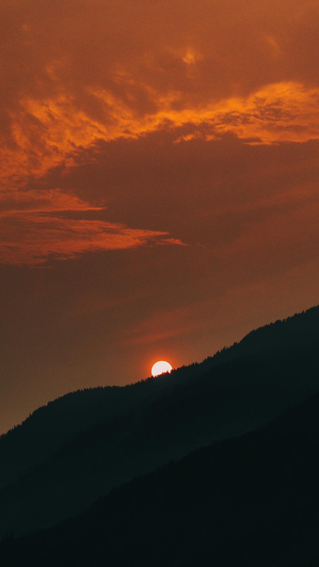 Sunset, Sun, Orange iPhone Wallpaper