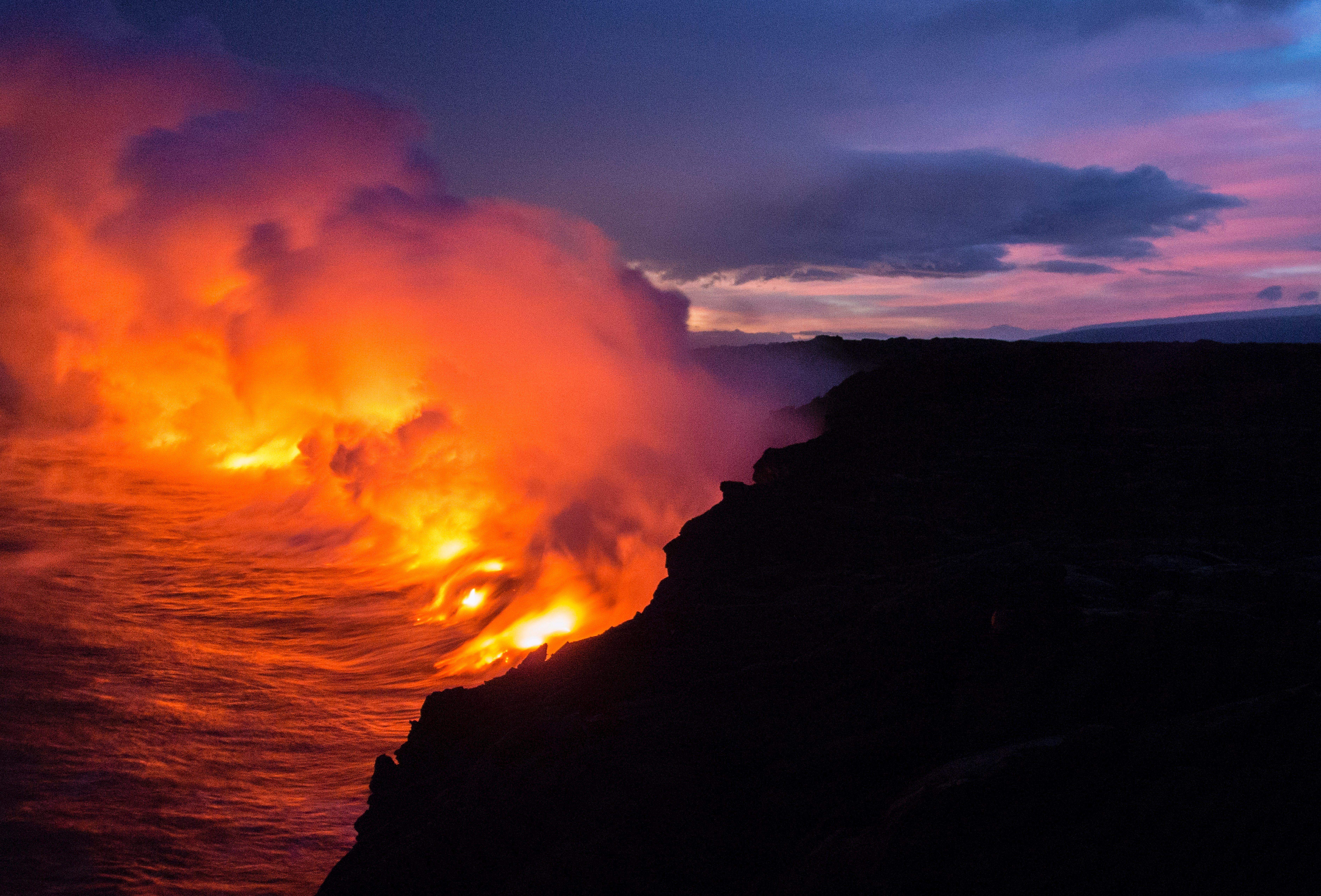 Lava Meeting The Ocean IPhone Wallpaper