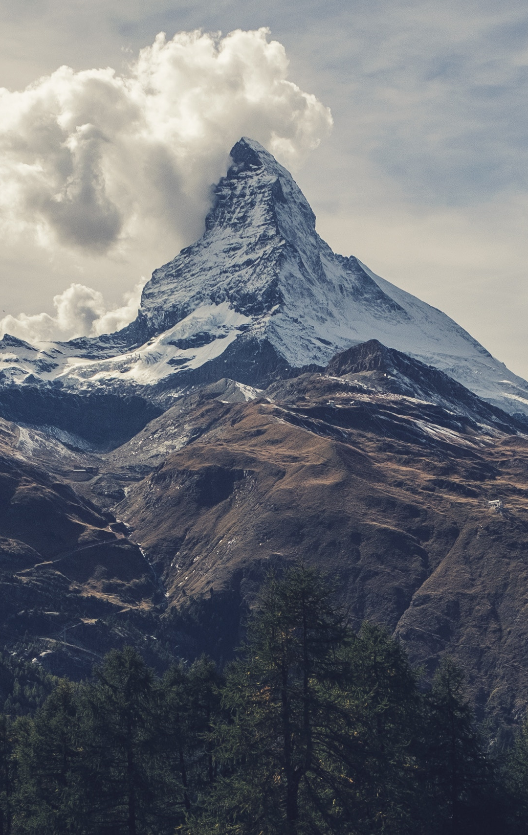 Matterhorn Under Clouds iPhone Wallpaper