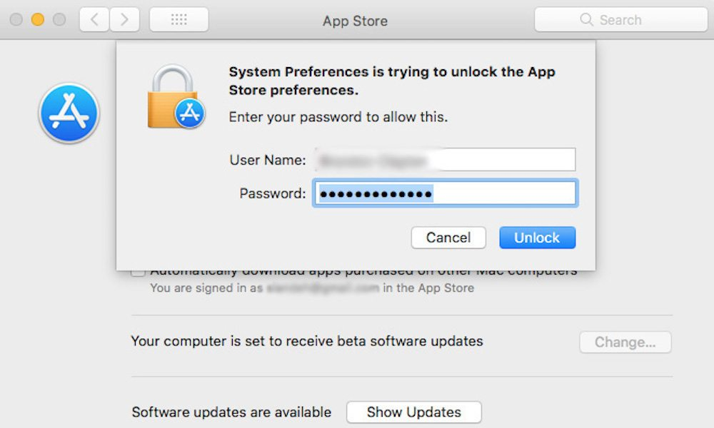 MacOS App Store Preferences Open With Any Password