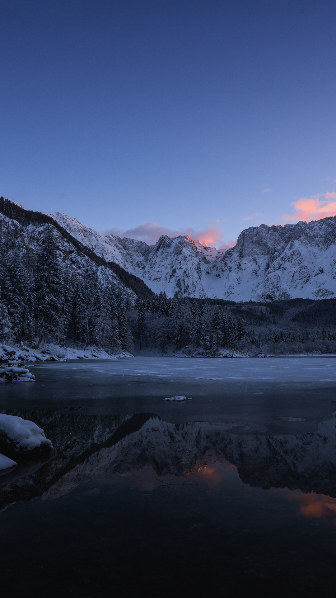 Fusine Lake In Winter iPhone Wallpaper