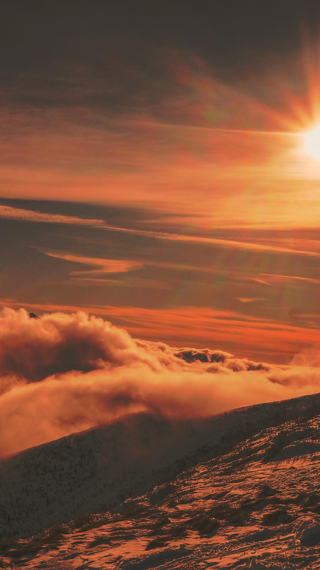 Mountain, Sunset, Nature iPhone Wallpaper