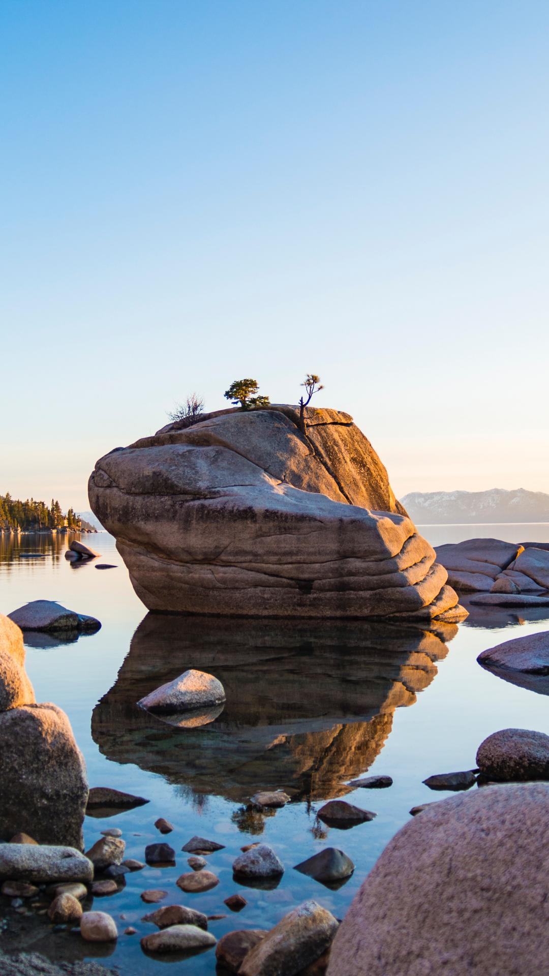 Lake And Sea iPhone Wallpaper