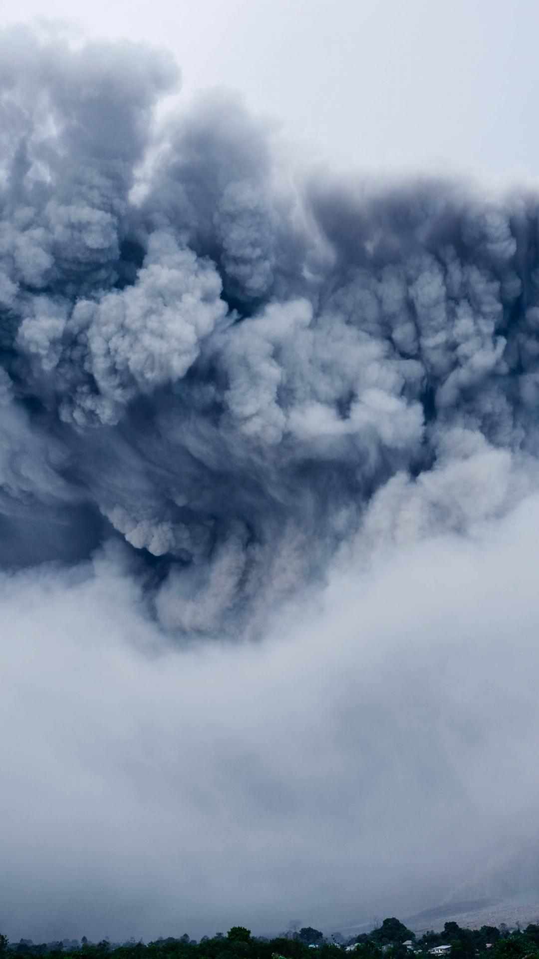 Huge Cloud Over A Volcano iPhone Wallpaper