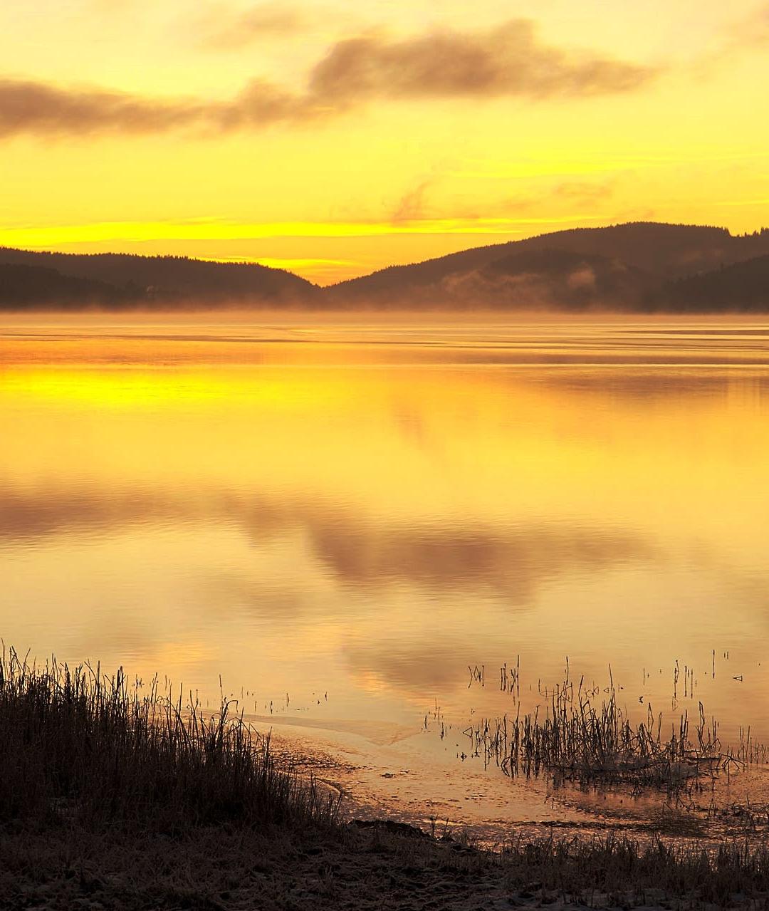 Warm Orange Lake iPhone Wallpaper
