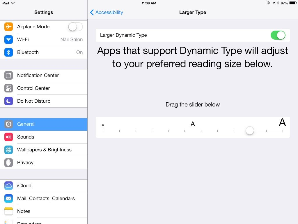 how to make text bigger on iphone 5s