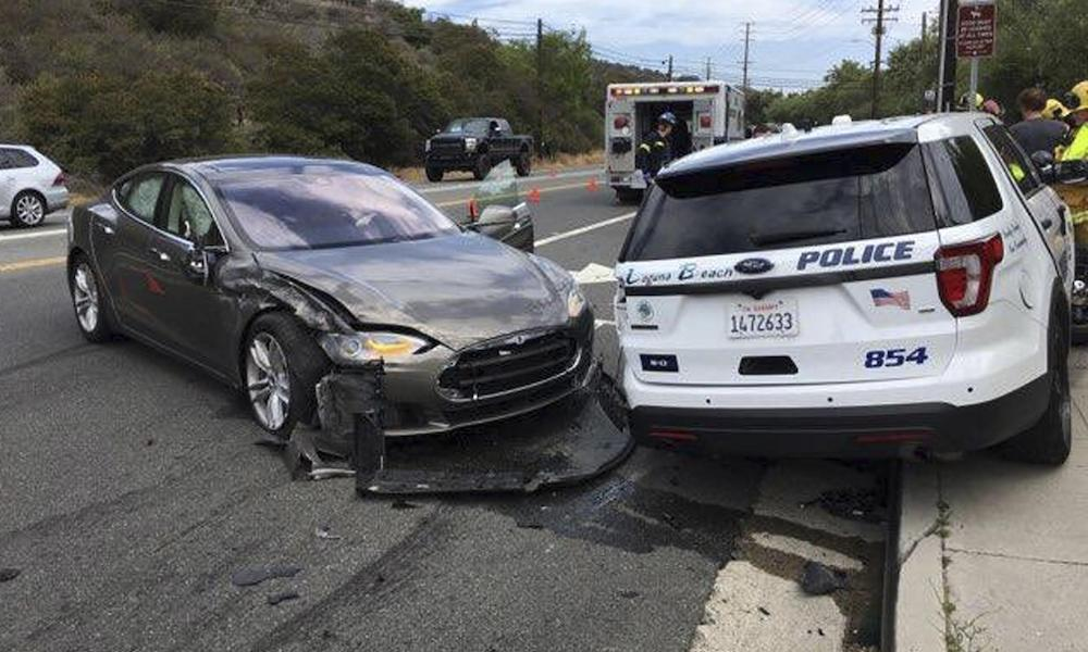 Tesla In Autopilot Mode Hit A Parked Cop Car In California