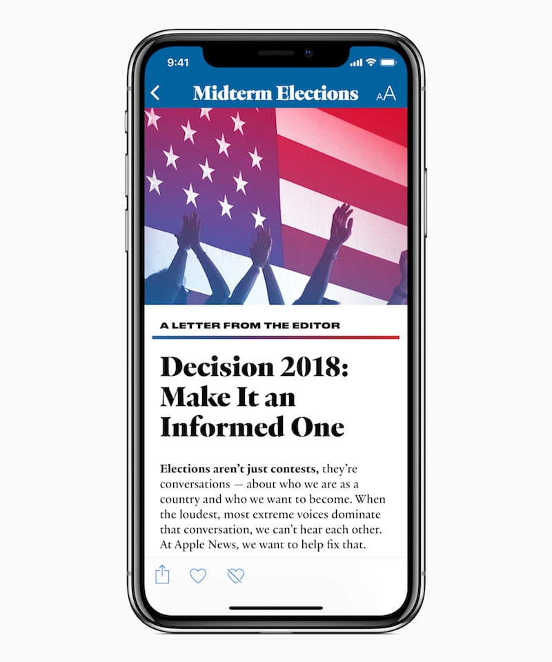 Apple News 2018 Midterm Elections Editor Letter 062518