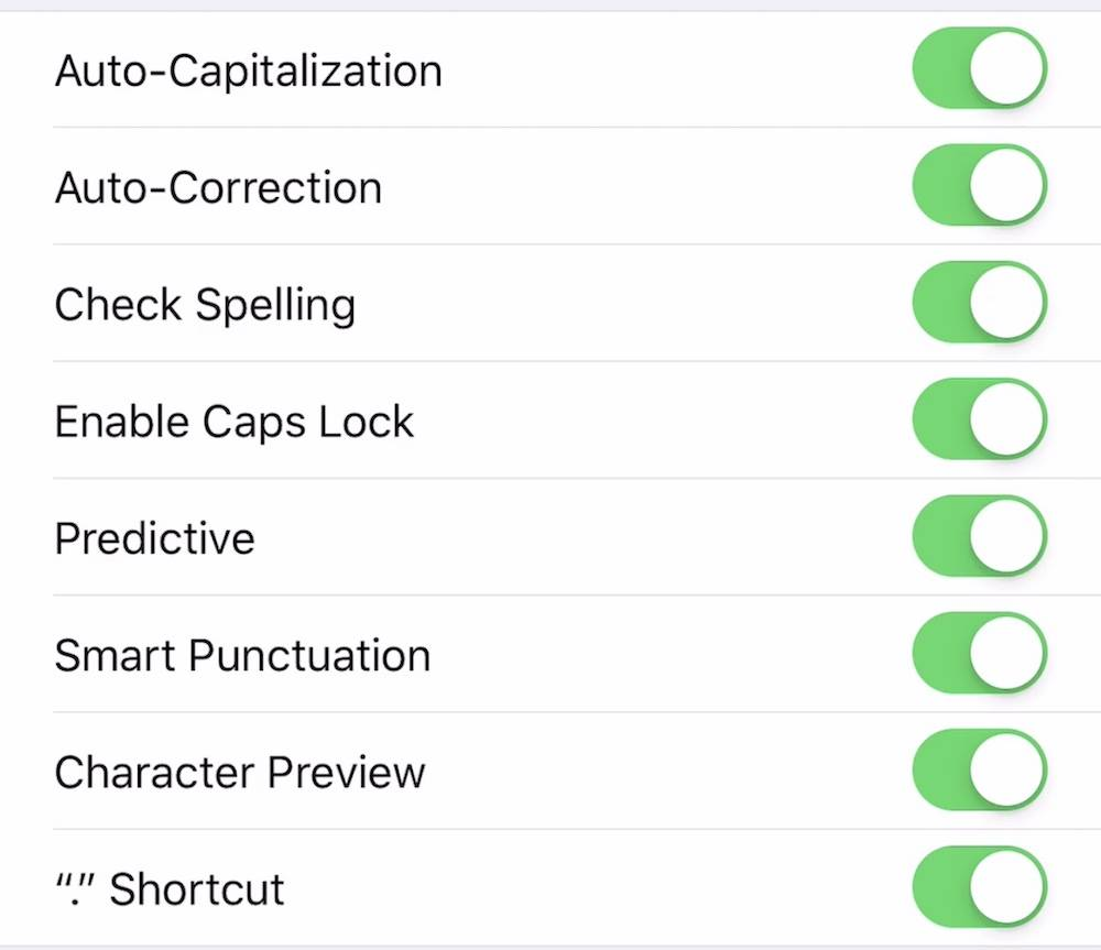 Tweak Keyboard Settings Ios 12
