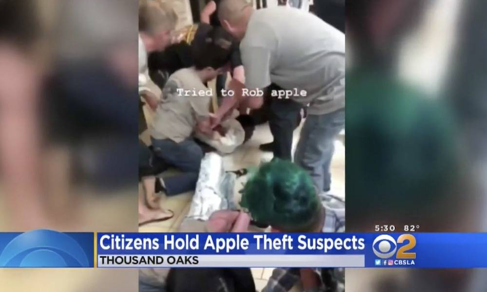 Customers Tackle Apple Store Thieves