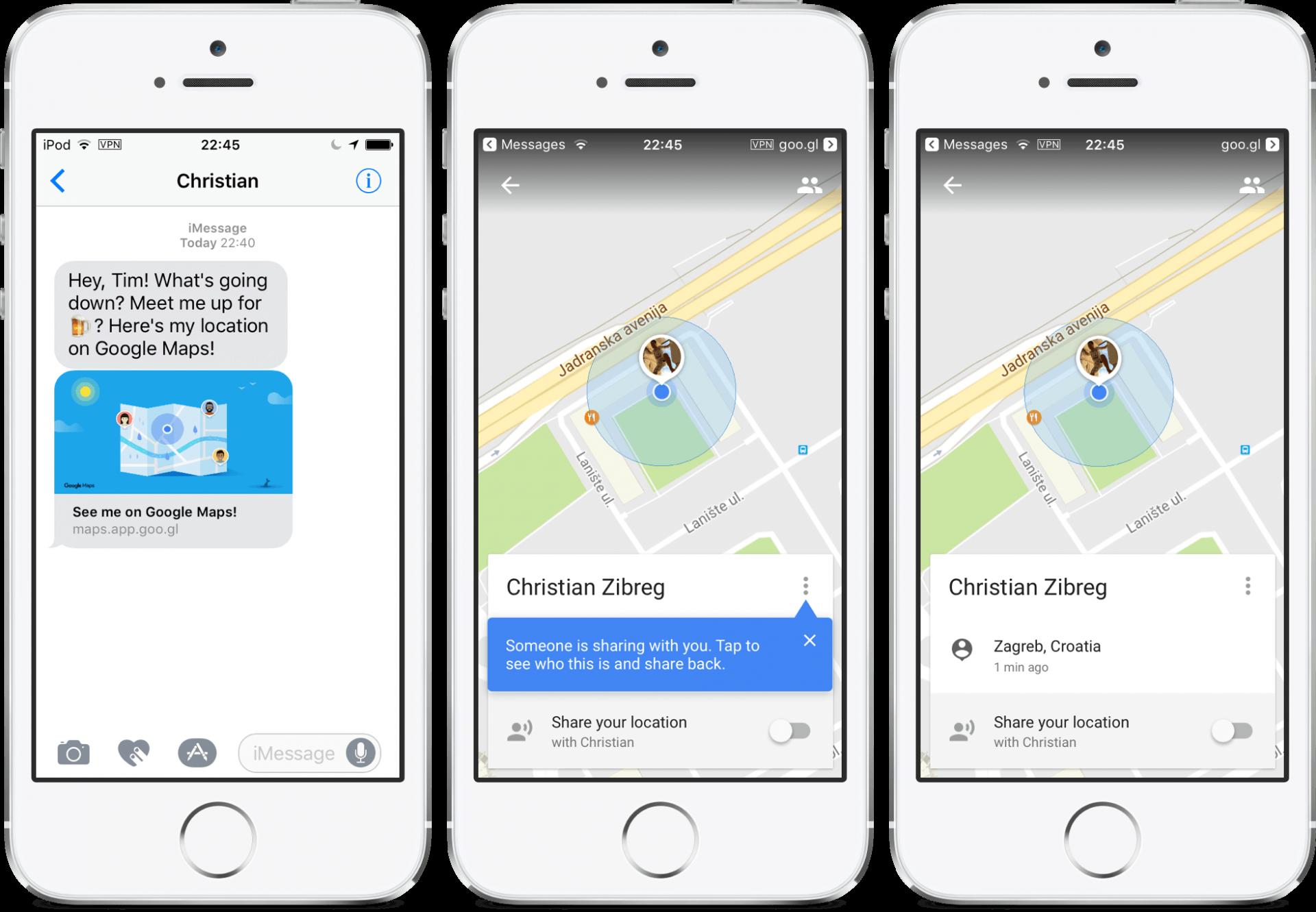 Google Maps Share Location Ios
