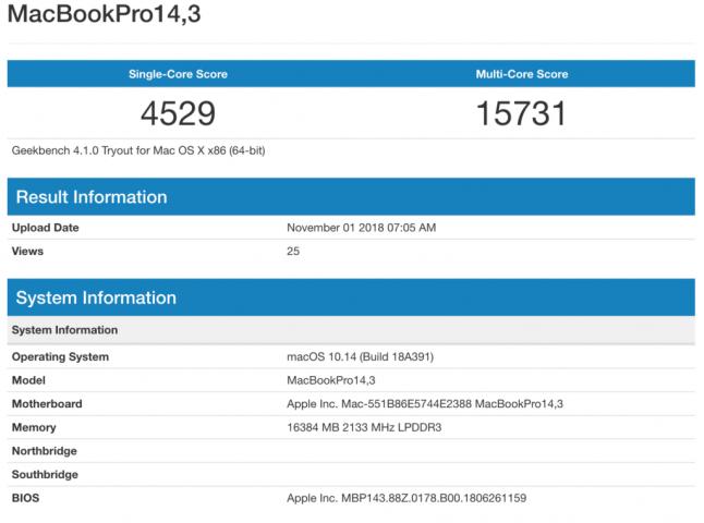 Macbook Pro Geekbench 2017