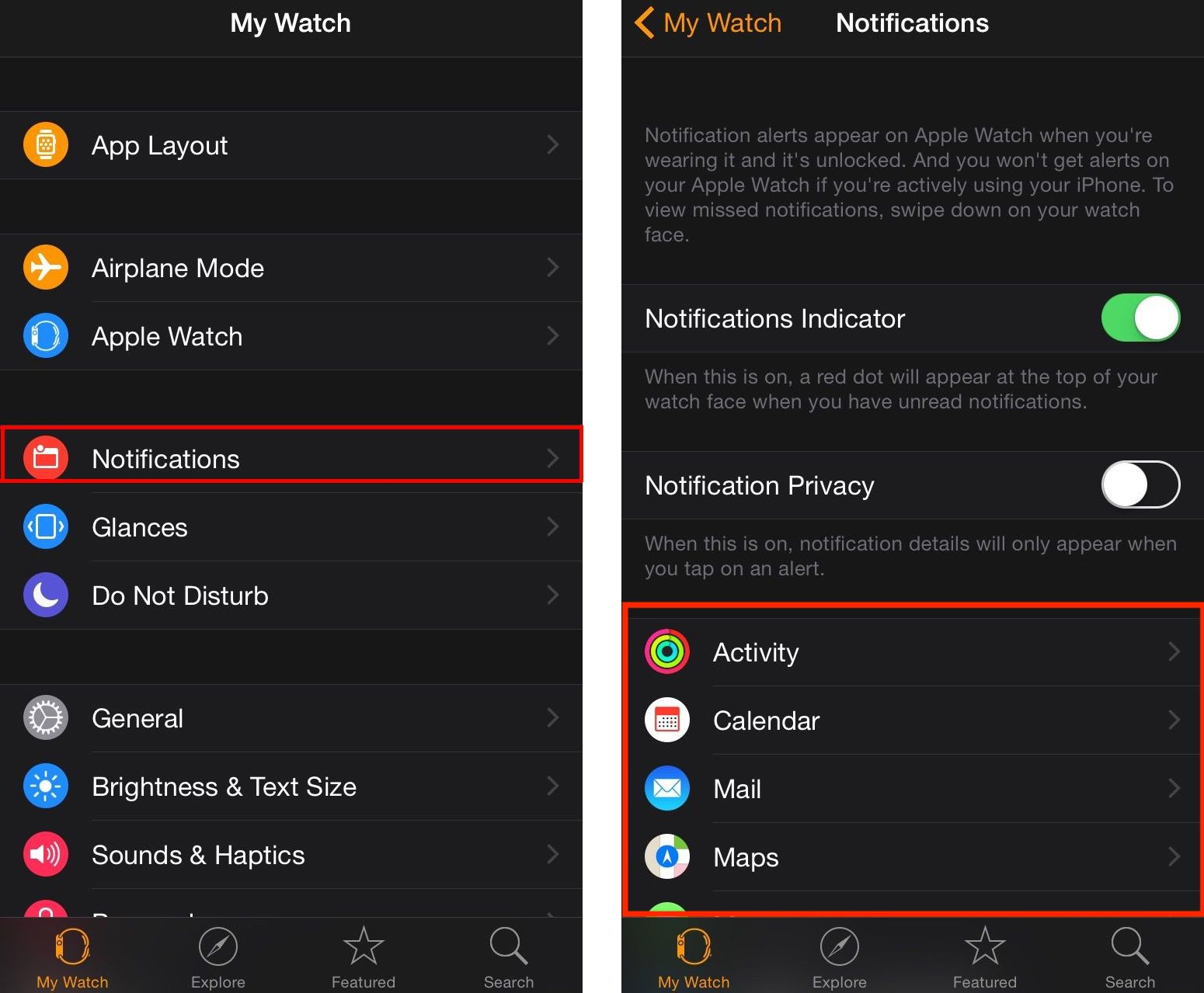 Apple Watch Notifications Settings