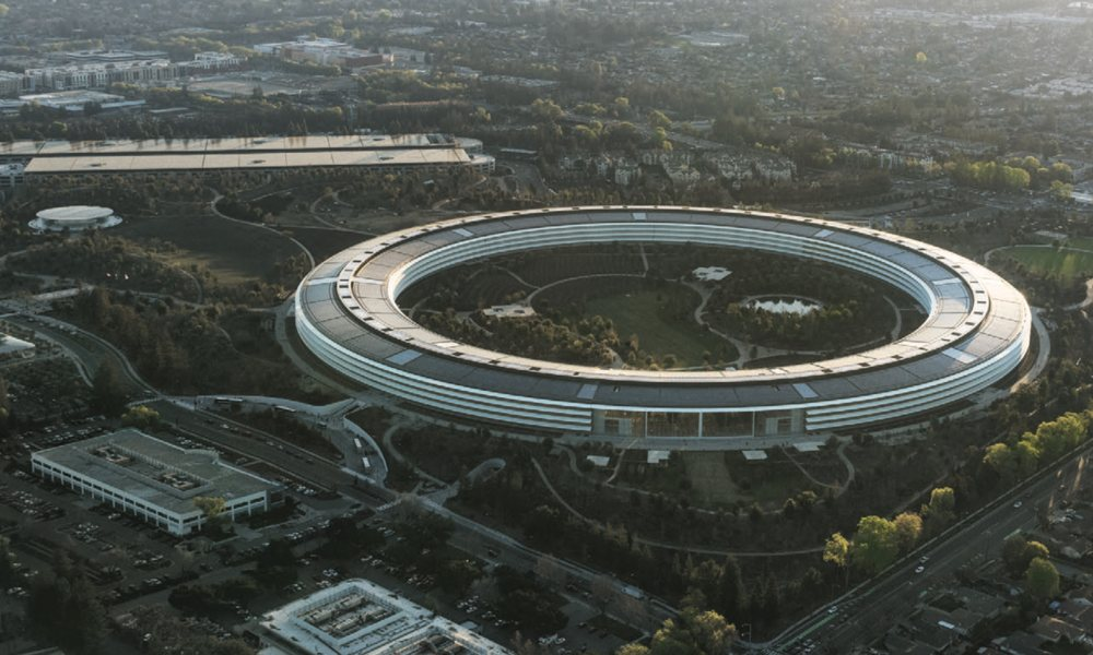 Apple Park Aerial View Surrounded By Trees