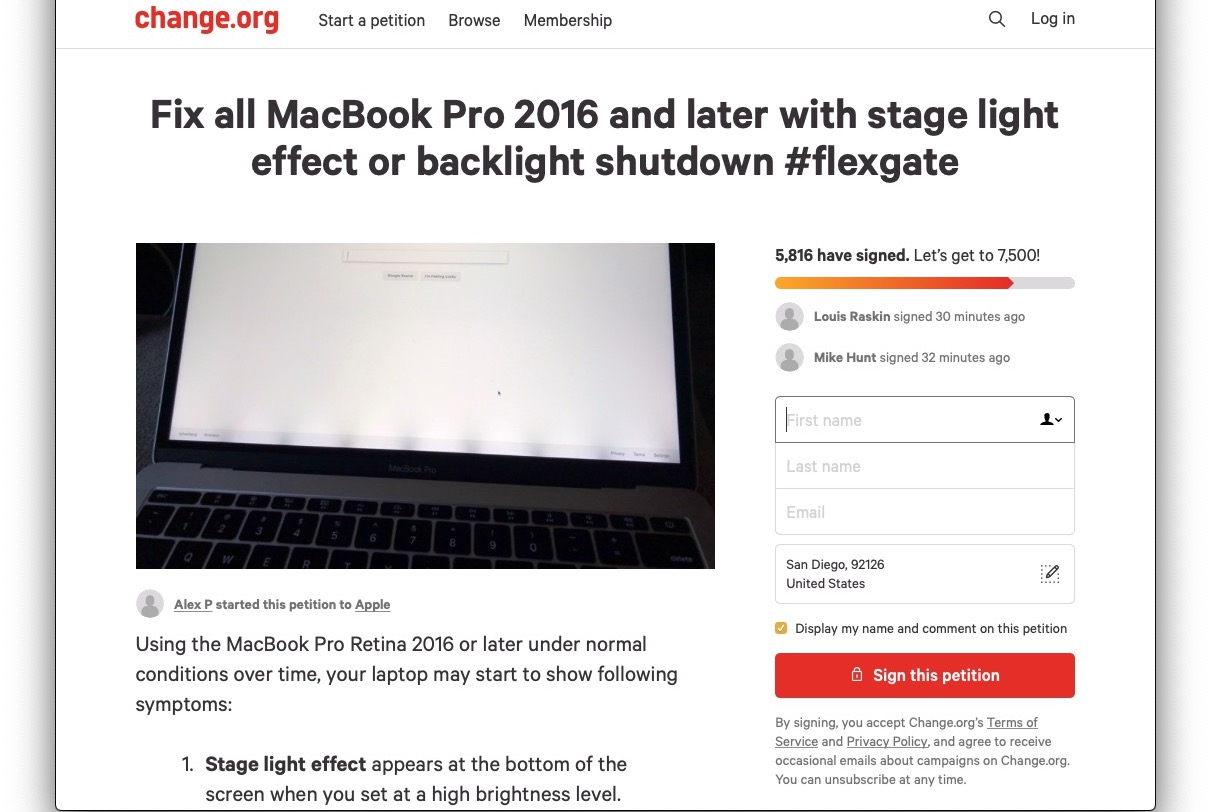 Flexgate Petition Change Org
