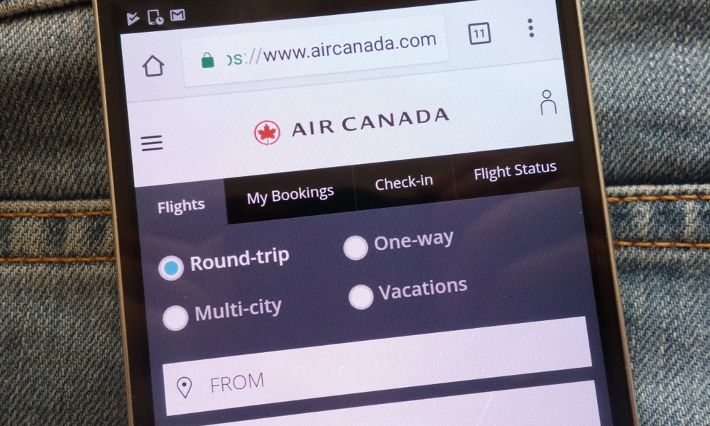 Air Canada app on phone screen
