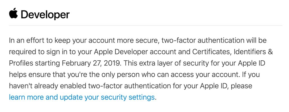 Apple Developers Require Two Factor Auth