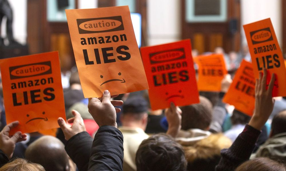 Amazon Backlash Protests New York