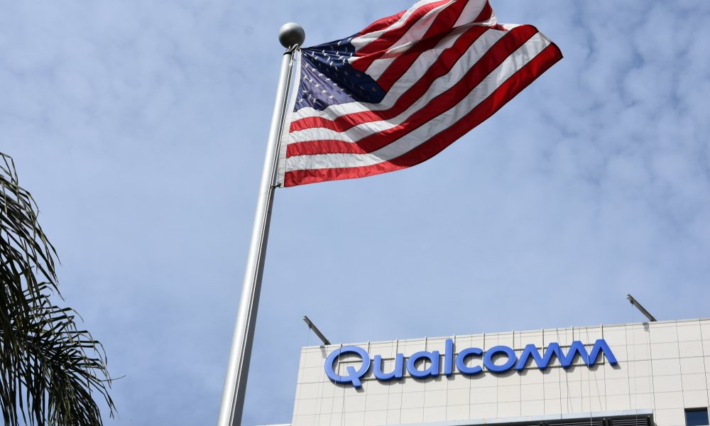 Qualcomm Headquarters under U.S.flag