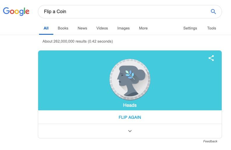 flip a coin in google