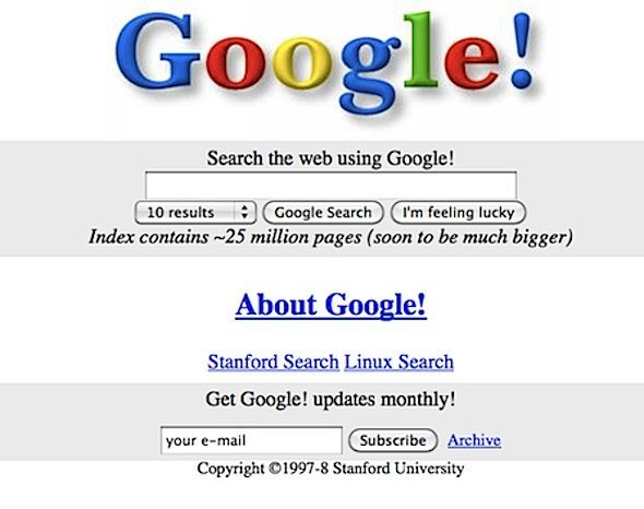 Heres The Orginal Google Search Page From 1998 Pretty Adorably Retro