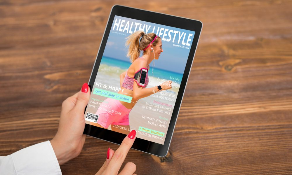 Woman Reading Lifestyle Magazine on iPad