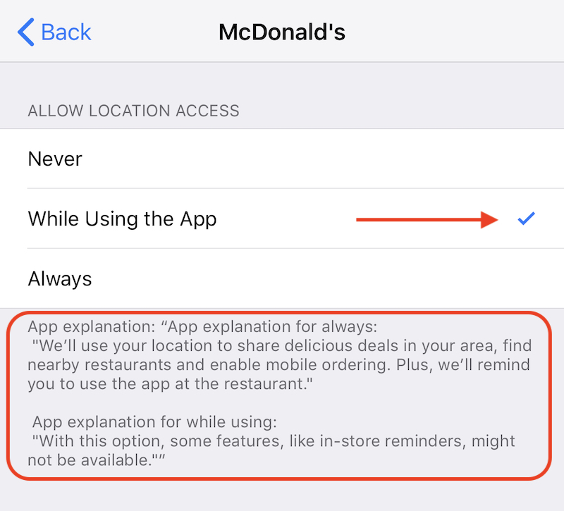 Mcdonalds Location Permissions