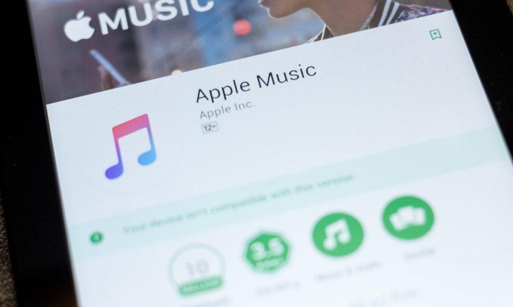 Closeup of Apple Music on Google Play Store
