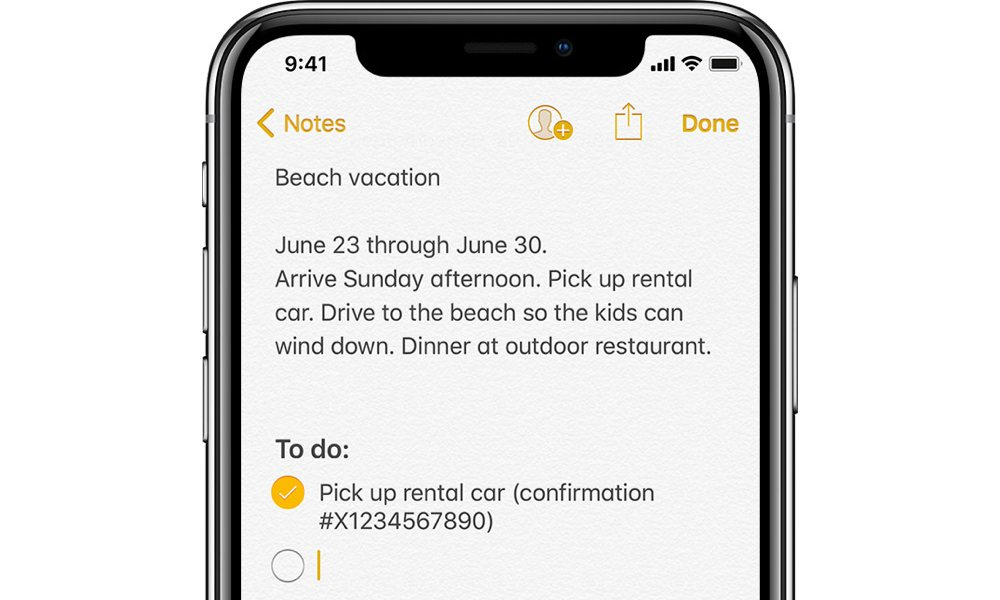 Apple Notes Checklist On iPhone