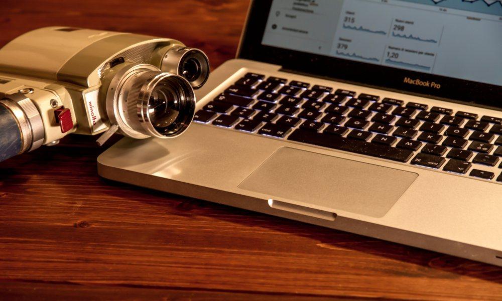 MacBook with Vintage Camera