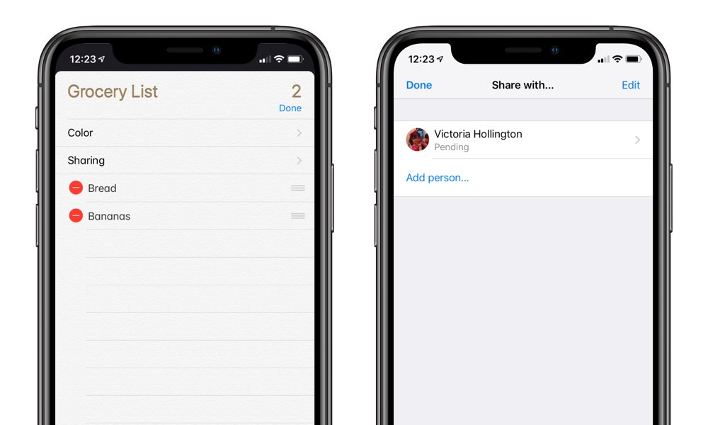 Sharing Reminders on iPhone