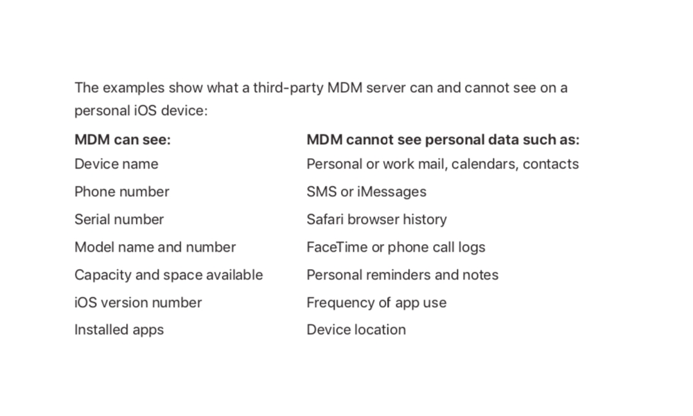 Apple Mdm Docs Personal Data