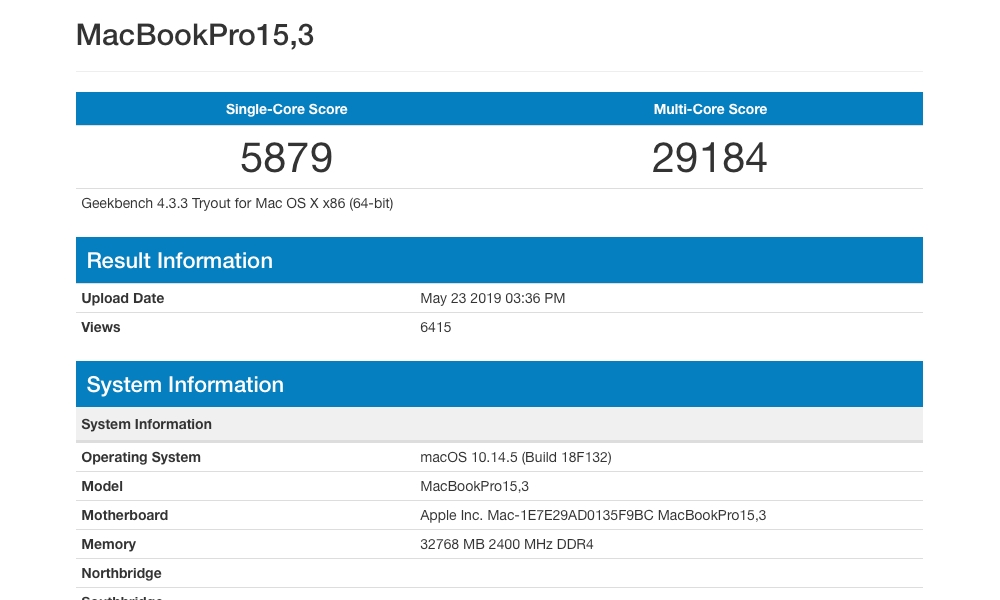 Geekbench Results 2019 Macbook Pro 15 Inch 8 Core I9