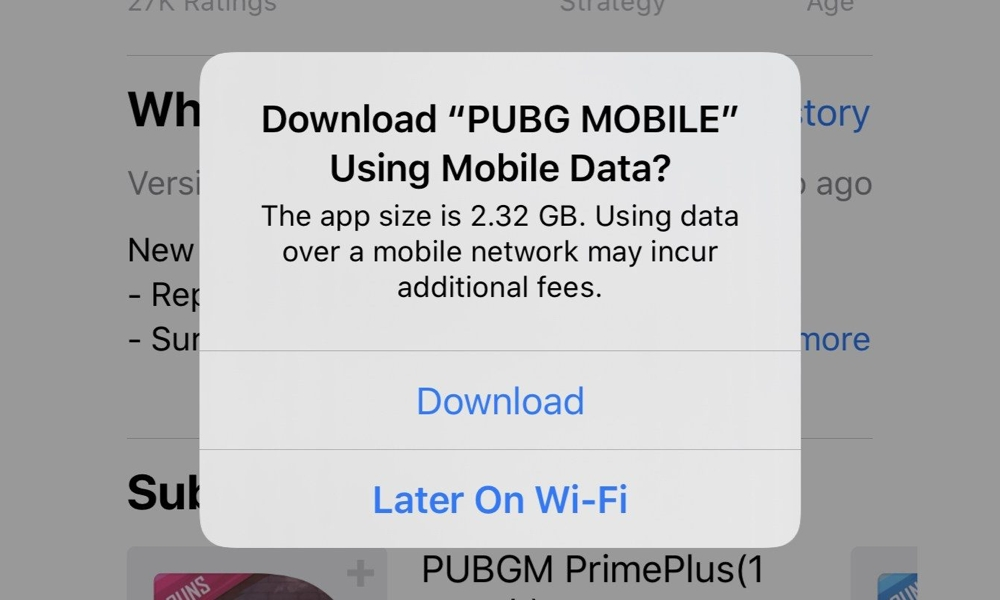 iOS 13 App Download Limit Warning