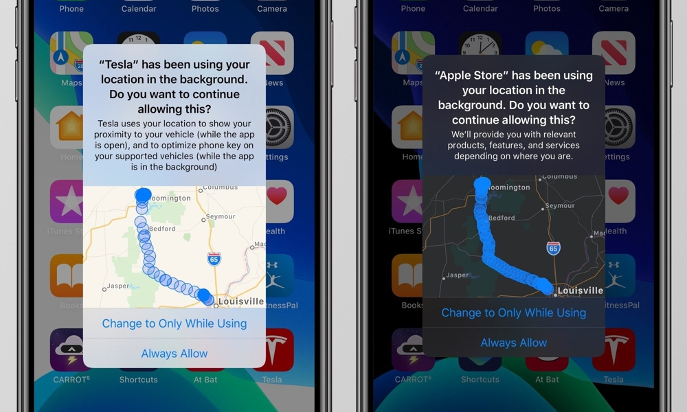 iOS 13 Location Tracking Alert With Map