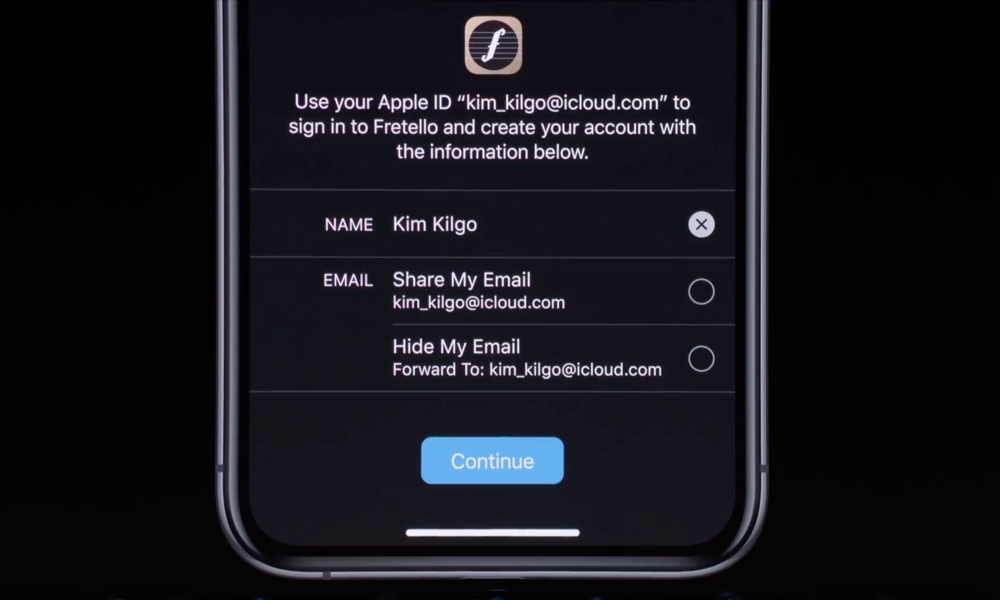 Sign In With Apple Info Request From WWDC Keynote
